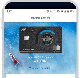 Rewards points balance displayed in Citi Mobile App