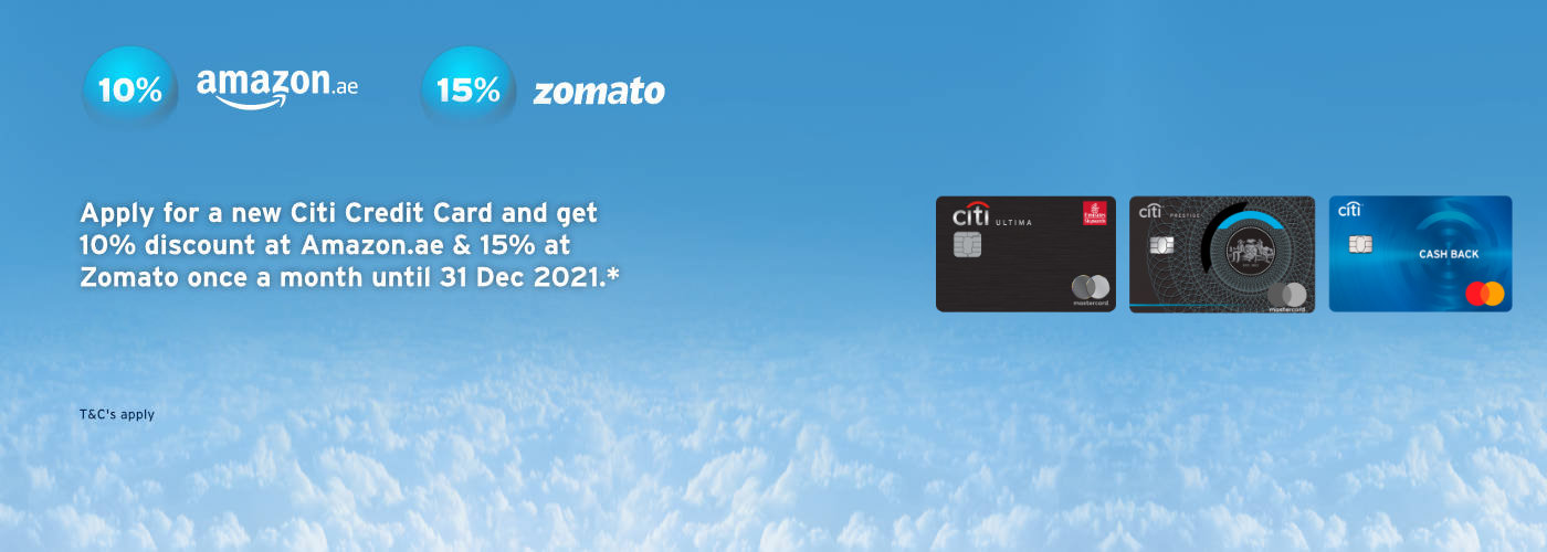 Instant discount at Amazon.ae and Zomato until 31st Dec 2021