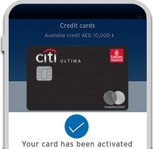 Activate your new Emirates Citibank Ultima Credit Card with Citi Mobile® App