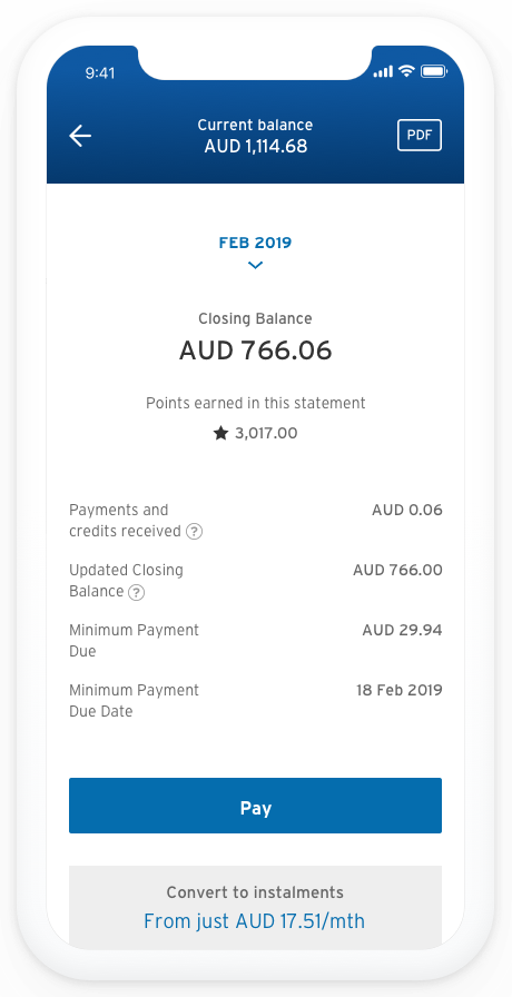 Screenshot of app showing the 'Current balance' and a 'Pay' button