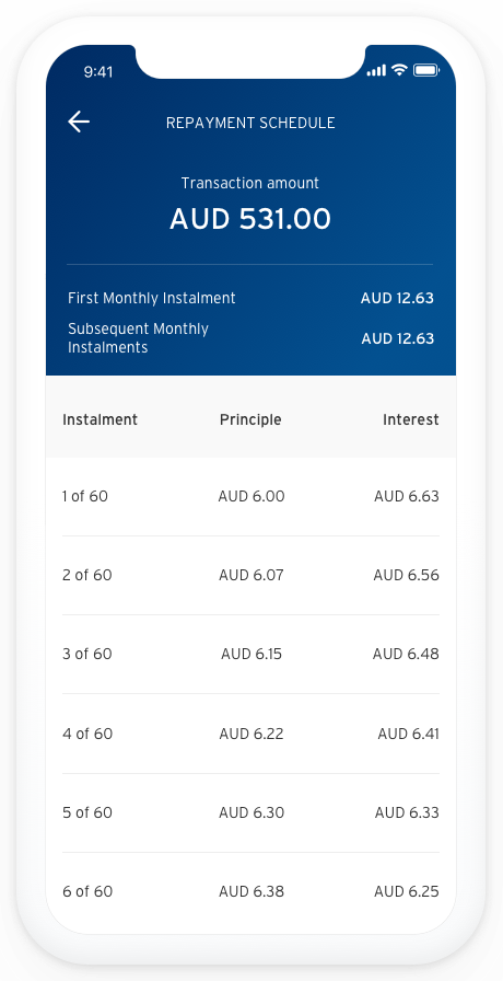Screenshot of app showing the heading 'Repayment Schedule'  with Transaction amount screen
