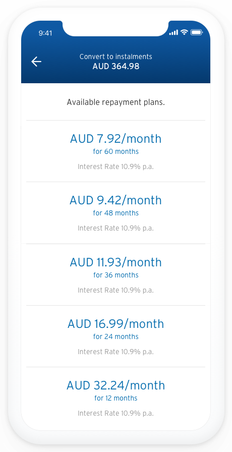Screenshot of app showing the heading 'Available repayment plans'