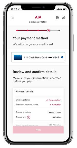 Application details will be pre-filled and simply select your payment account with ease.