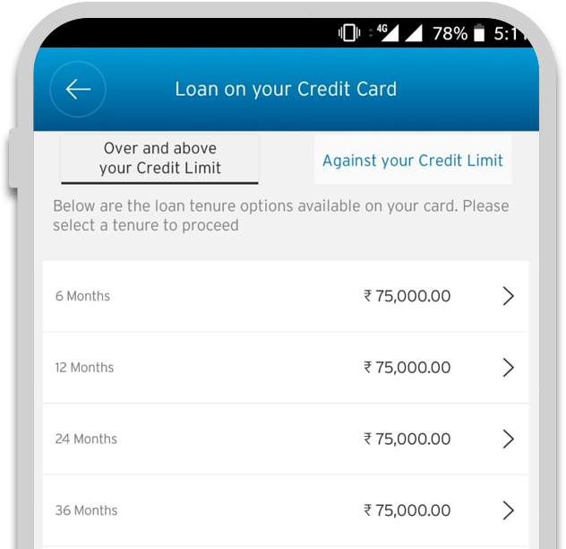Smartphone displaying the second step of applying credit card loan with Citi QuickCash