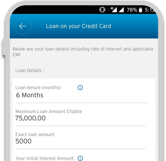 Smartphone displaying the third step of applying credit card loan with Citi QuickCash