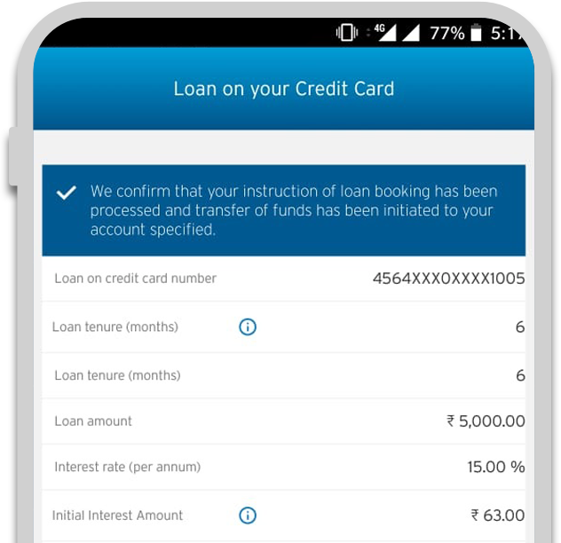 Smartphone displaying the fourth step of applying credit card loan with Citi QuickCash