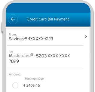 Smartphone displaying the bill payment process of Cash Back Credit Card on Citi Mobile App