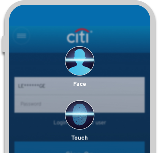 Smartphone displaying face and finger recognition login option on Citi Mobile App