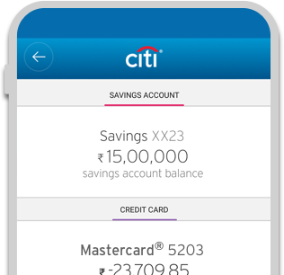 Smartphone displaying savings account and Cash Back Credit Card balance summary on Citi Mobile App