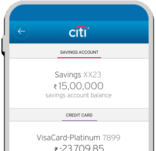 Smartphone displaying savings account and IndianOil Citi Fuel Credit Card balance summary on Citi Mobile App