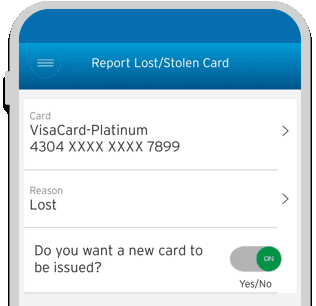 Smartphone displaying the facility to report lost or stolen credit cards on Citi Mobile App