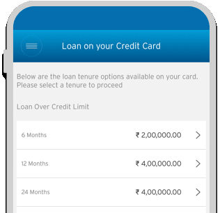 Smartphone displaying different loan tenure options available on Citi Cash Back Credit Card