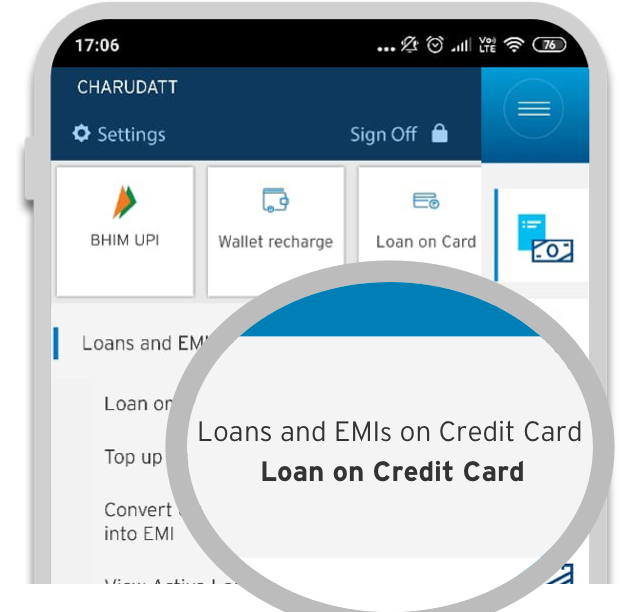 Smartphone displaying the first step of applying credit card loan with Citi QuickCash