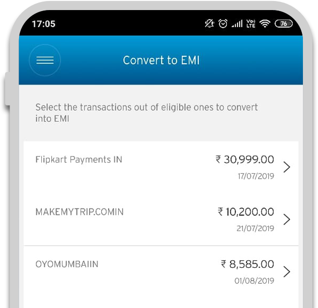 screen 2: Select purchase for EMI conversion