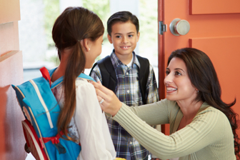 Children going to school after their expenses have been paid using credit card EMI