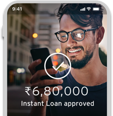Smartphone displaying an instantly approved loan with Citi Quick Cash available on Cash Back Credit Card