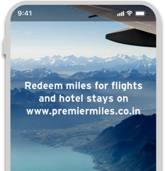 Smartphone displaying the option to redeem miles earned through Citi Premiermiles card at www.premiermiles.co.in