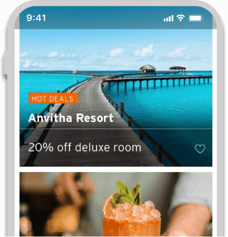 Smartphone displaying offers on resorts and travel available with Citi World Privileges