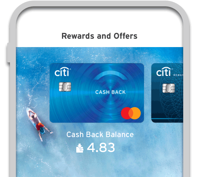 Smartphone displaying the option to see cash back balance on Citi Mobile App