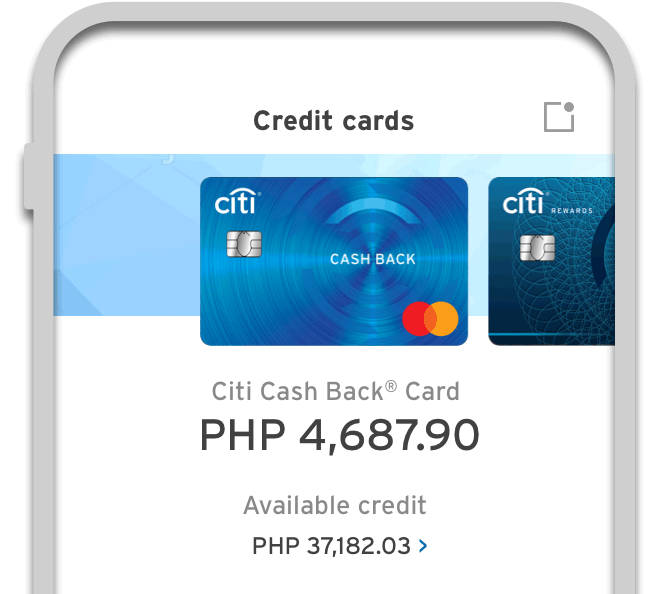 Smartphone displaying the interface of Citi Mobile App
