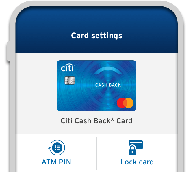 Smartphone displaying the locking option available for Citi Cash Back Credit Card on Citi Mobile App