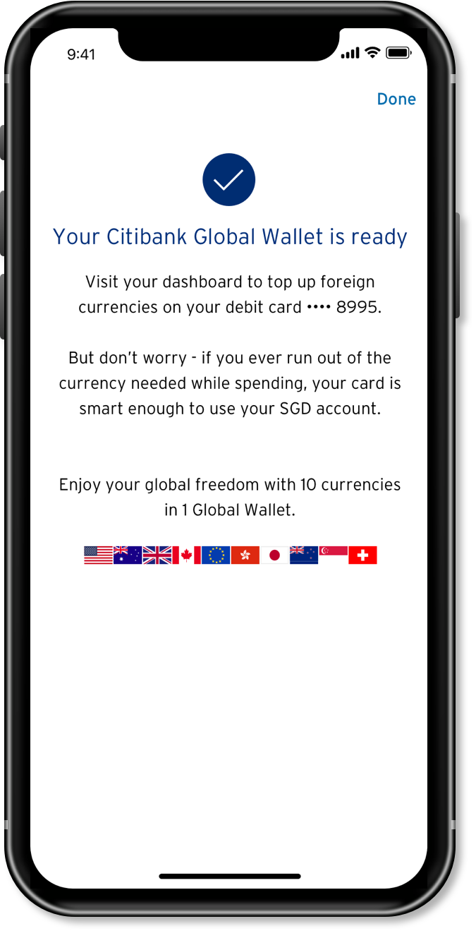 Citibank Global Wallet is activated