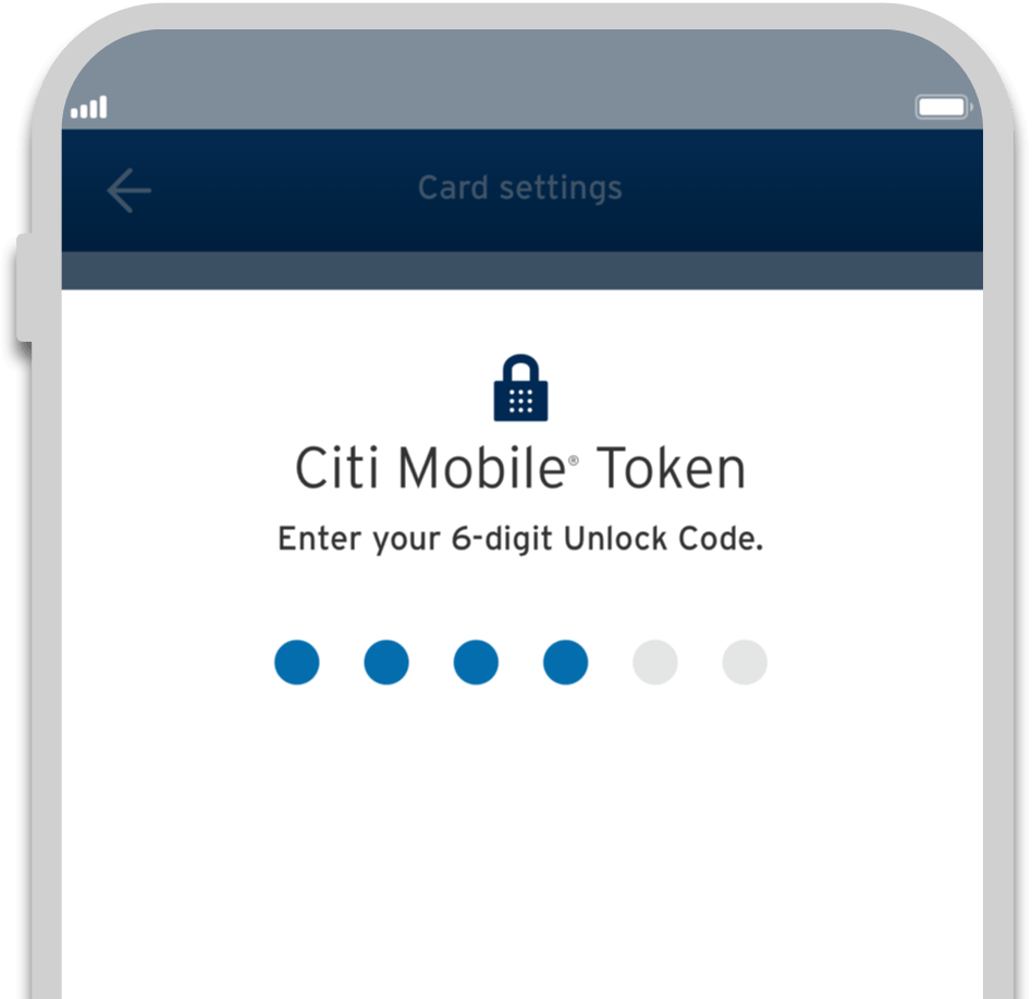 Smartphone displaying secure transaction on Citi Cash Back credit card with Citi Mobile Token
