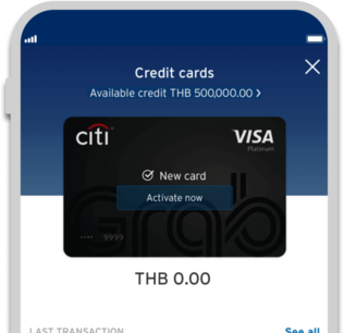 Smartphone displaying activation of Citi Grab credit card on Citi Mobile App