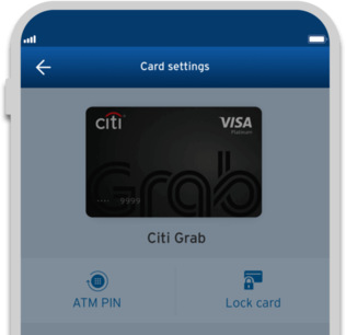 Smartphone displaying the the locking of credit card with Citi Mobile App