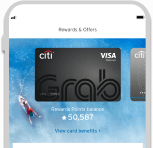 Smartphone displaying the facility to track Citi Grab credit card rewards with Citi Mobile App