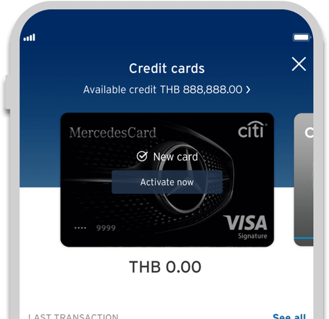 Smartphone displaying activation of Citi Mercedes credit card on Citi Mobile App