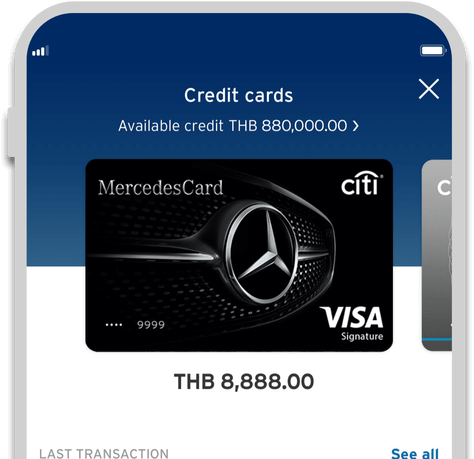 Smartphone displaying Citi Mercedes credit card on Citi Mobile App
