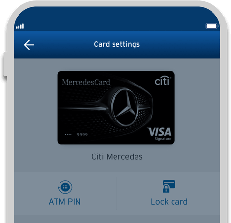 Smartphone displaying the tthe locking of Citi Mercedes credit card with Citi Mobile App