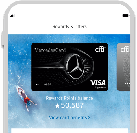 Smartphone displaying the facility to track credit card rewards with Citi Mobile App