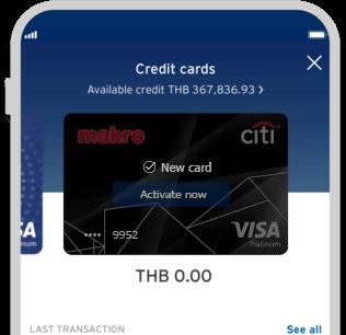 Smartphone displaying activation of Citi Makro Platinum Rewards credit card on Citi Mobile App