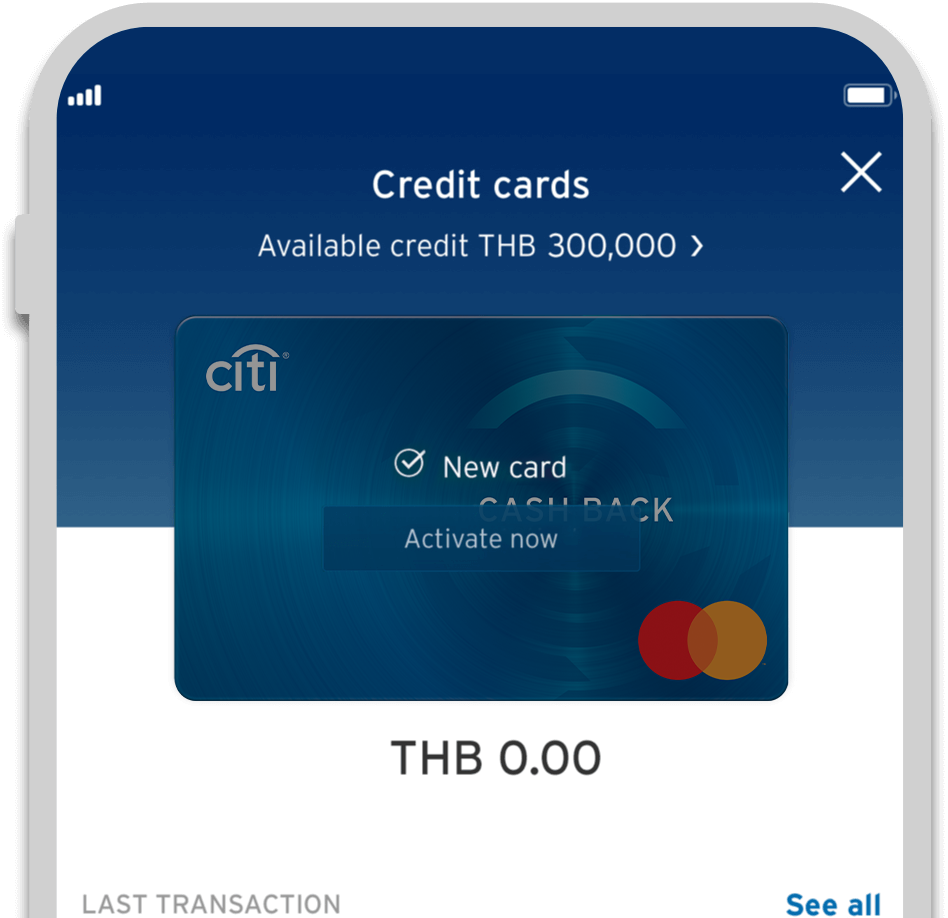 Smartphone displaying activation of Citi Cash Back credit card on Citi Mobile App