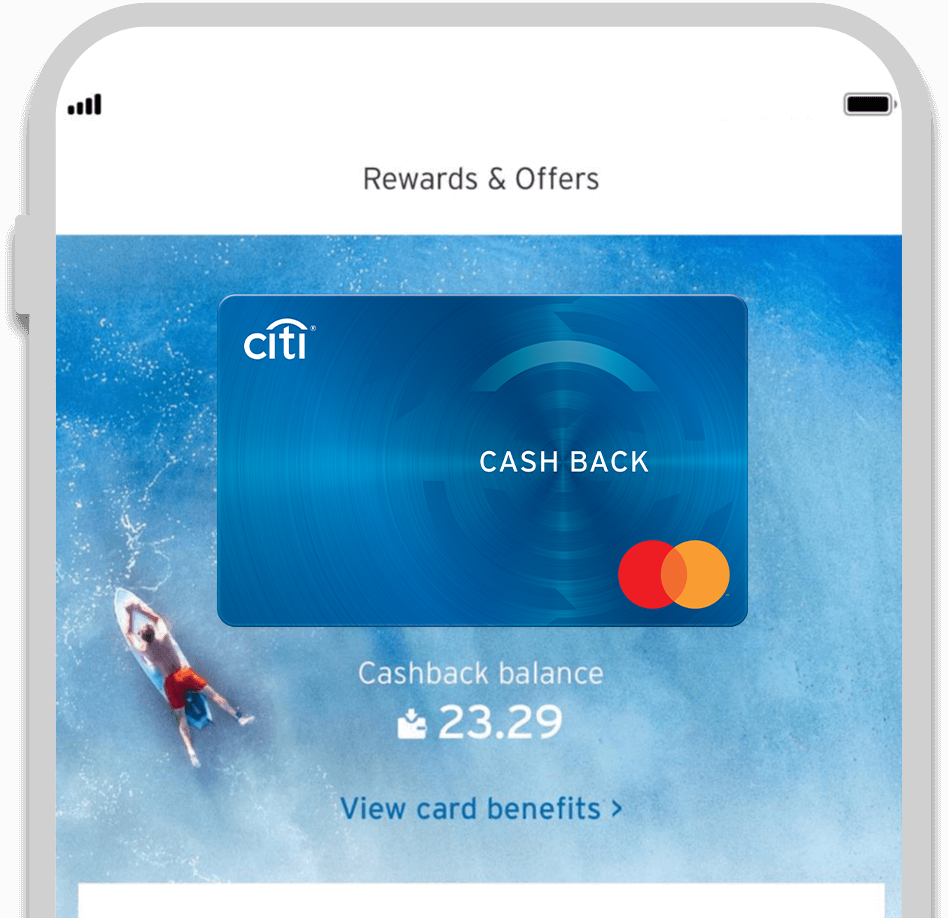 Smartphone displaying the facility to track Citi Cash Back credit card rewards with Citi Mobile App