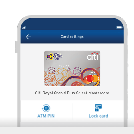 Smartphone displaying the locking of Citi Royal Orchid Plus Select credit card on Citi Mobile App