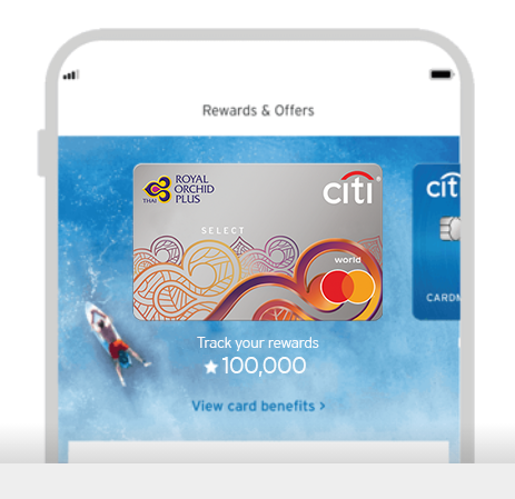 Smartphone displaying the tracking of Citi Royal Orchid Plus Select credit card rewards with Citi Mobile App