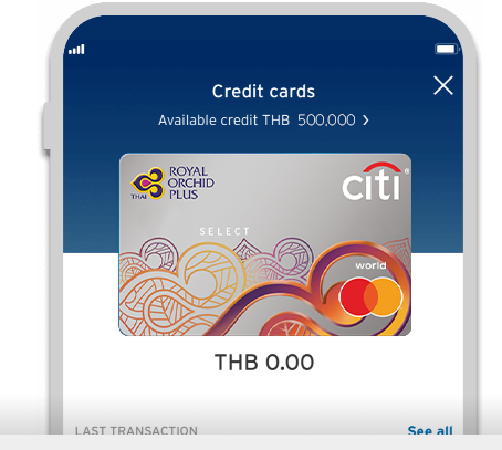 Smartphone displaying Citi Royal Orchid Plus Select credit card on Citi Mobile App