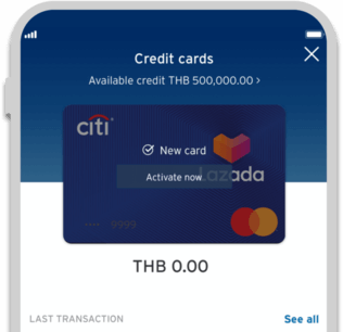 Smartphone displaying activation of Citi Lazada credit card on Citi Mobile App