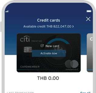 Smartphone displaying activation of Citi Prestige credit card on Citi Mobile App