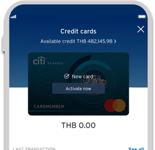 Smartphone displaying activation of Citi Rewards credit card on Citi Mobile App