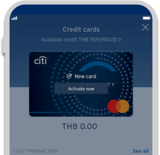 Smartphone displaying activation of Citi Simplicity credit card on Citi Mobile App