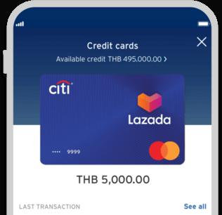 Smartphone displaying Citi Lazada credit card on Citi Mobile App