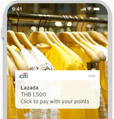 Smartphone showcasing a wide range of shopping options where users can redeem Citi Reward Points