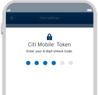 Smartphone displaying Citi Makro Platinum Rewards credit card secure transaction with Citi Mobile Token