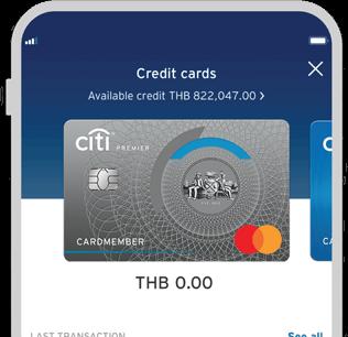 Smartphone displaying Citi Premier credit card on Citi Mobile App