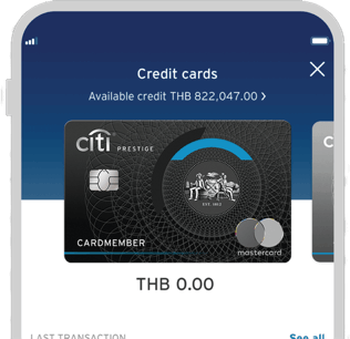 Smartphone displaying Citi Prestige credit card on Citi Mobile App