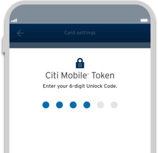 Smartphone displaying Citi Prestige secure transaction with Citi Mobile Token